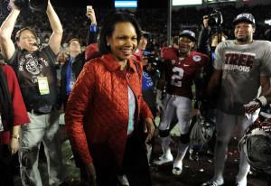Condoleeza Rice celebrates Alabama's 2013 National Championship.