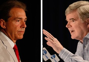 Nick Saban and Mark Emmert (By Marvin Gentry)