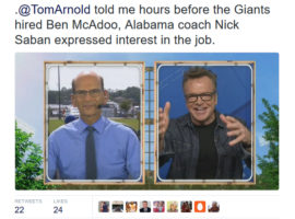 Tom Arnold On The Paul Finebaum Show: Nick Saban Expressed Interest In New York Giants Job